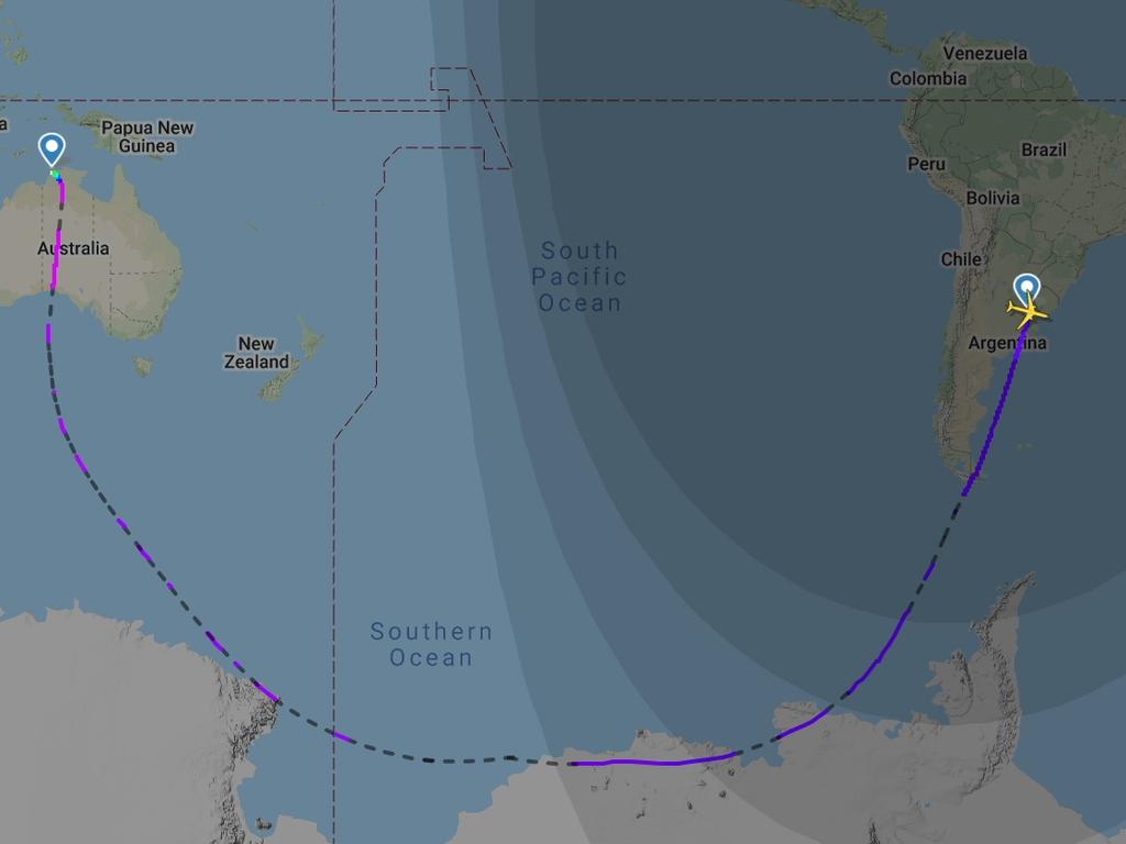 QF14 from Buenos Aires to Darwin. Picture: Flight Radar