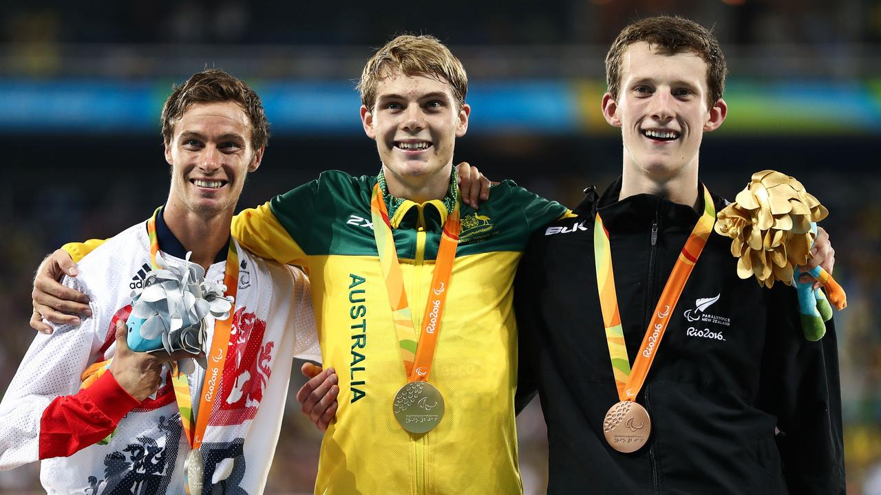 Paul Blake of Great Britain (silver), James Turner of Australia (gold) and William Stedman of New Zealand after the 800m final.