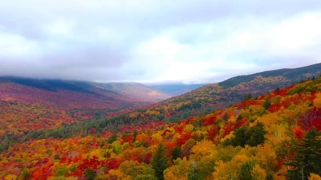 Drone Captures Vivid Fall Foliage in New Hampshire's White Mountains