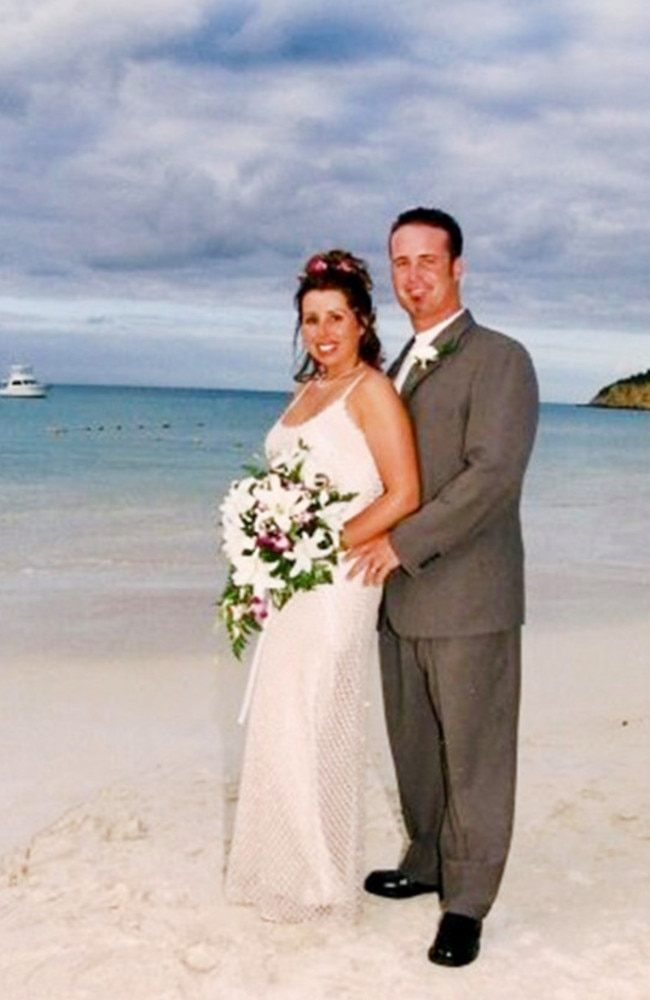 Cassondra and John on their wedding day. She woke one morning to find her husband gasping for air. Picture: Caters News Agency