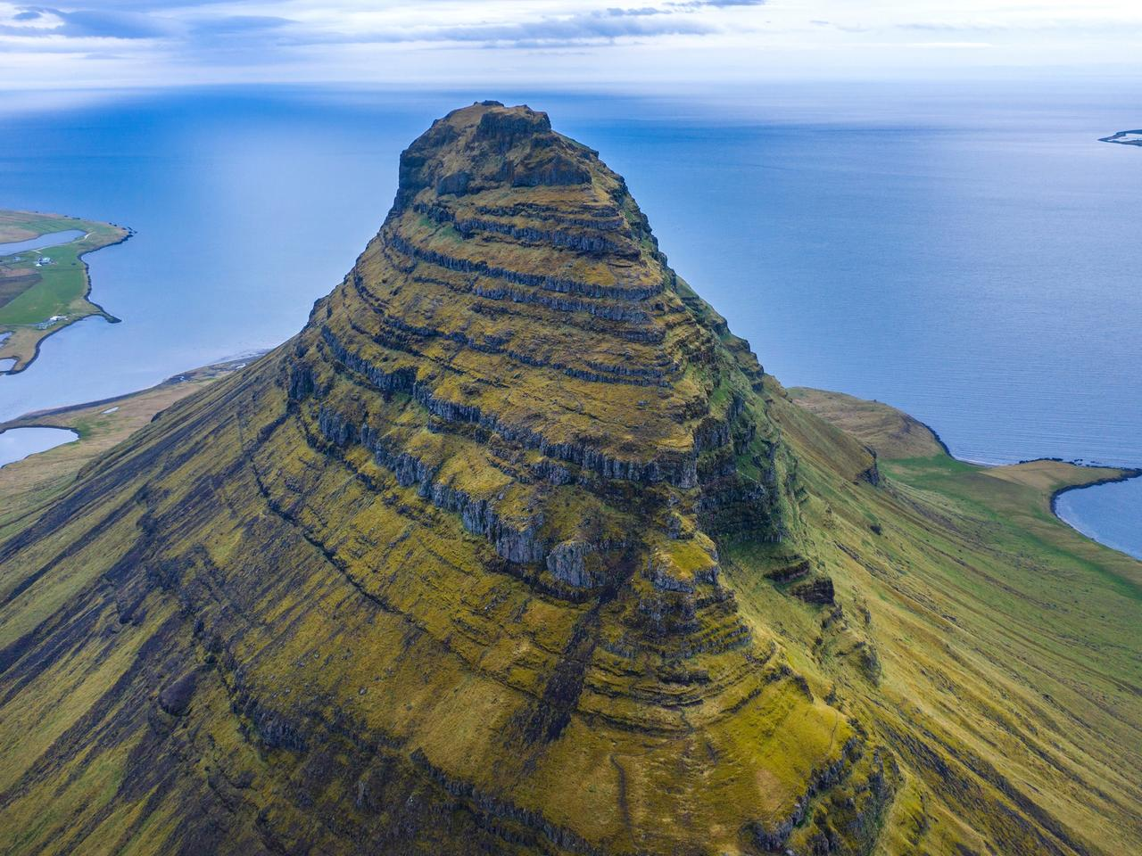 Aerial view of Kirkjufell mountain, Iceland