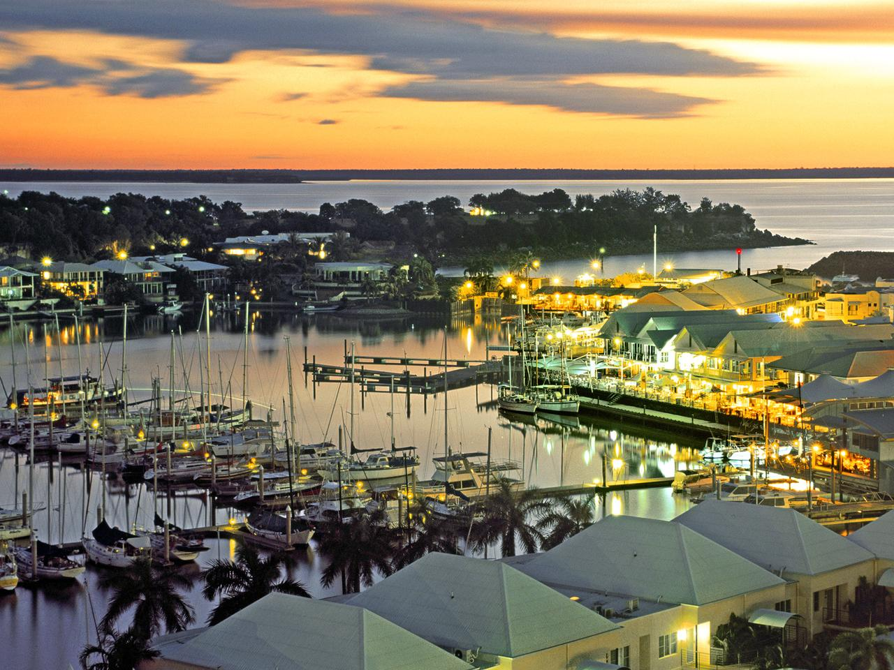 Supplied Travel Escape. Darwin Summer: (Cullen Bay): Cullen Bay Marina and restaurant precinct at sunset. Picture