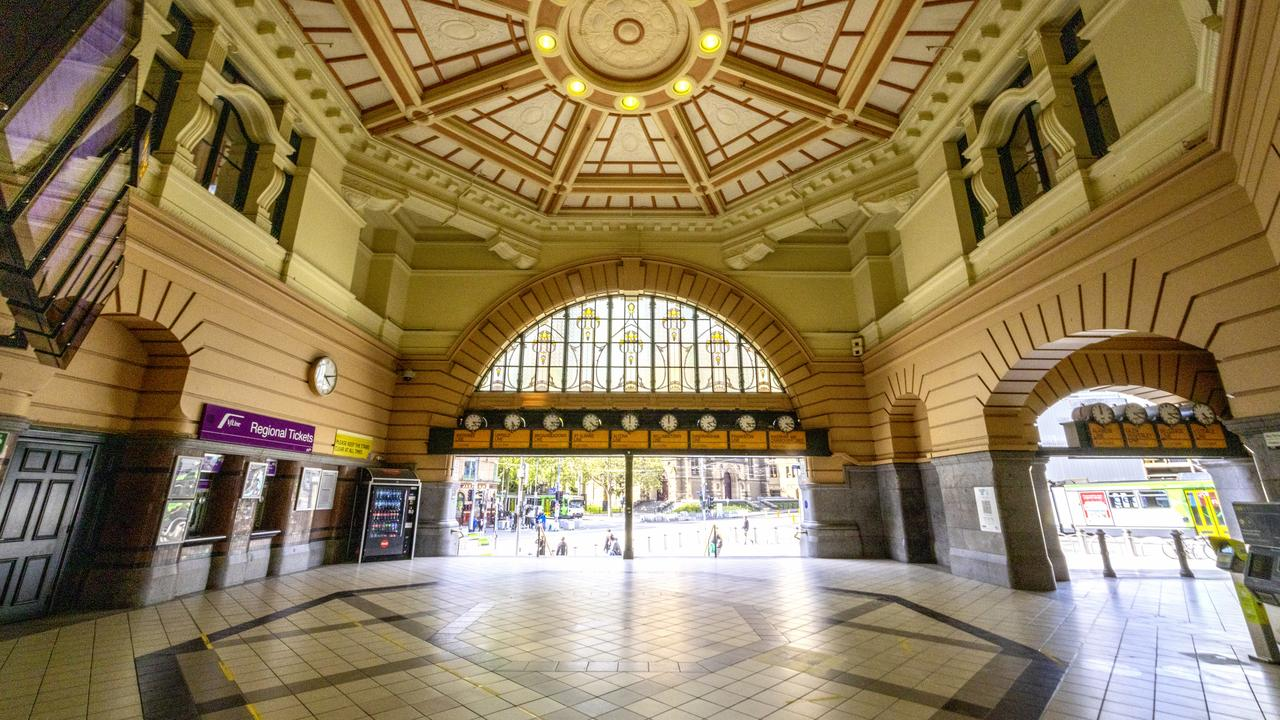 Foot traffic was non-existent at Flinders Street Station in the heart of Melbourne this week. Picture: David Geraghty