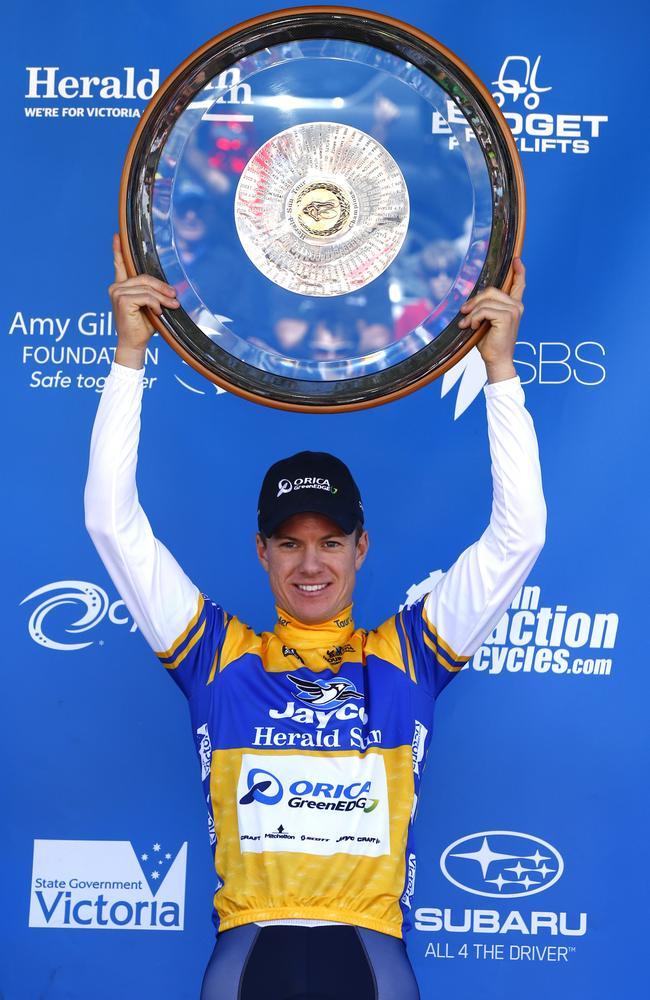 Simon Clarke celebrates winning the 2014 Herald Sun Tour.