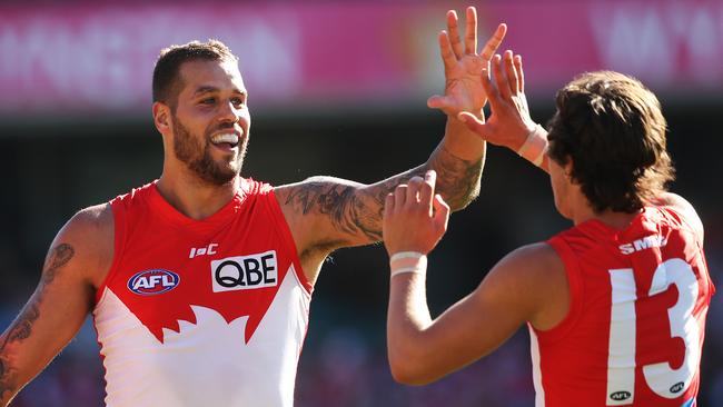 Lance Franklin booted eight goals against the Lions. Picture: Phil Hillyard