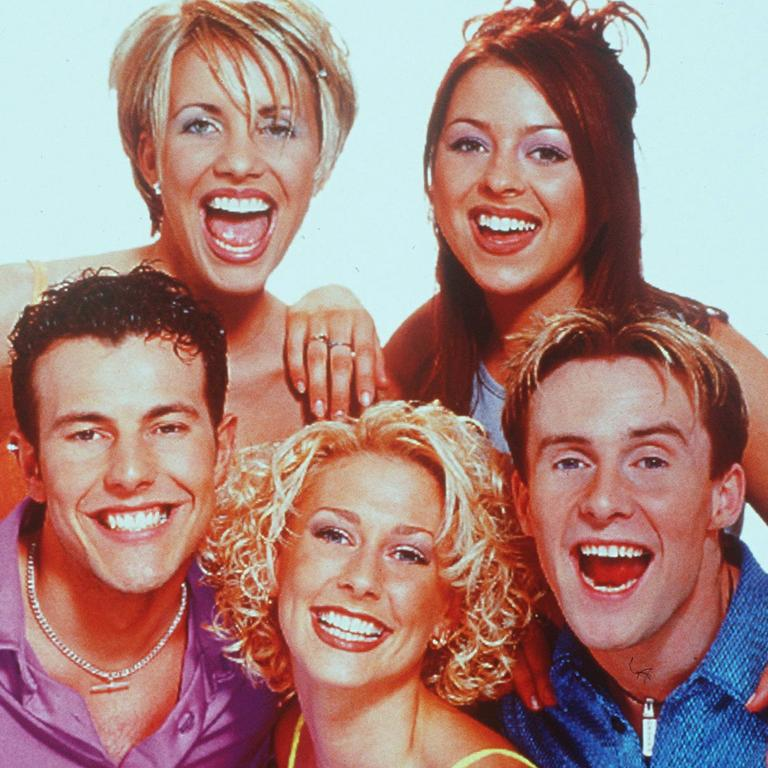British pop group Steps: from left back; Claire and Lisa, front; Lee, Faye and Ian.