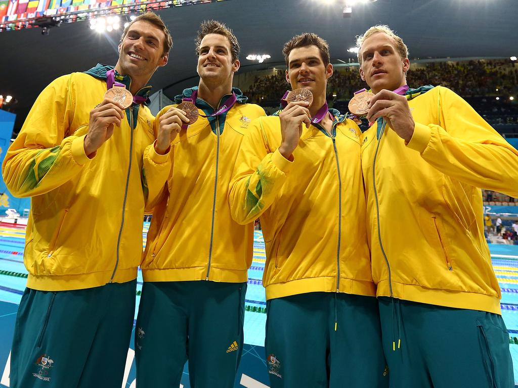 Christian Sprenger, James Magnussen, Matt Targett, and Hayden Stoeckel of Australia.