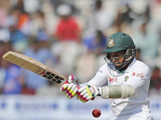 Bangladesh captain Mushfiqur Rahim plays a shot.