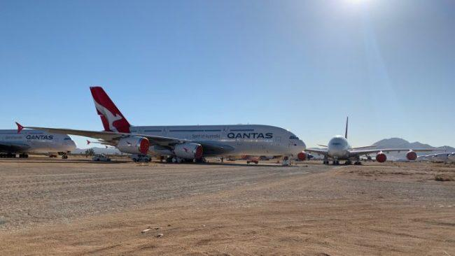 The A380 fleet is currently in storage in the baking heat of the Mojave Desert. Picture: Supplied