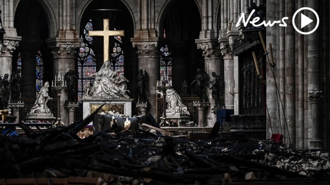 Notre Dame fire: First look inside destroyed cathedral