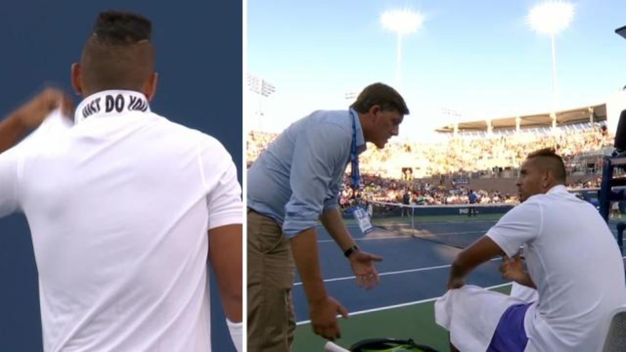 Kyrgios fires up over collar