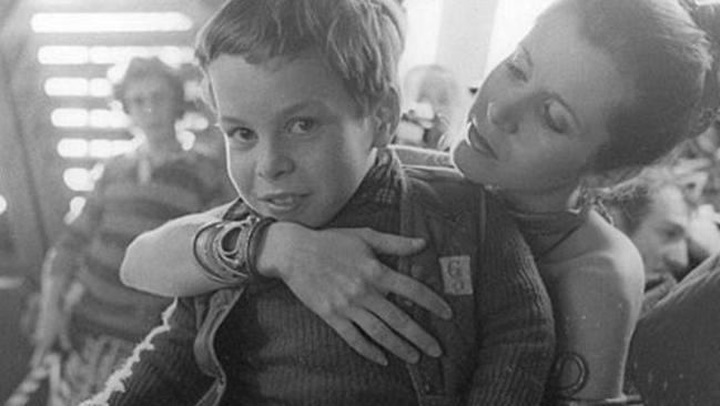 Carrie Fisher with a young Warwick.