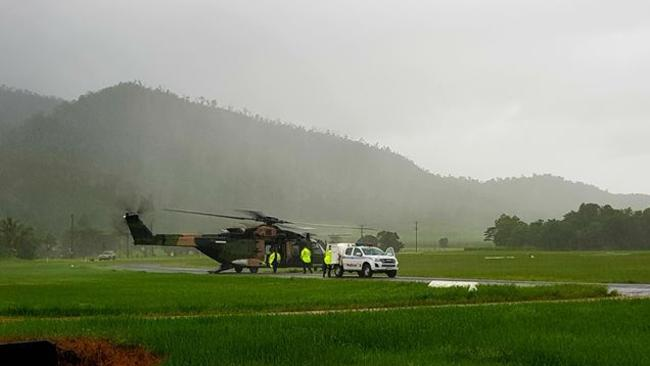 Supplies leaving Tully for school students stranded by floodwaters at a Far North Queensland adventure camp.