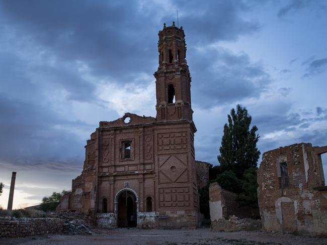 The ruin of the church of San Agustin in the old village of Belchite. Picture: Ella Pellegrini