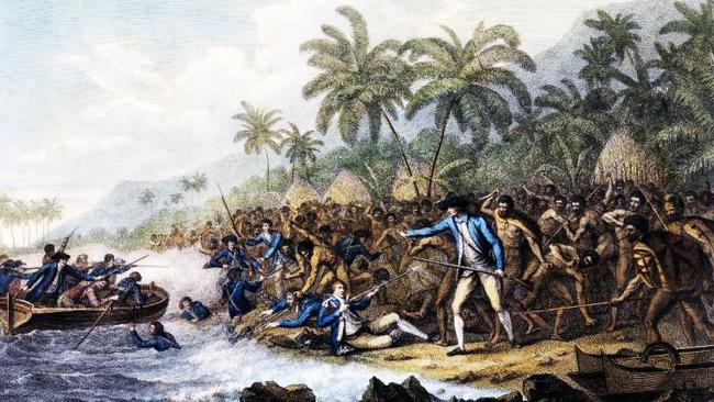 The 1779 death of Captain Cook in Hawaii. Etch by Francesco Bartolozzi.