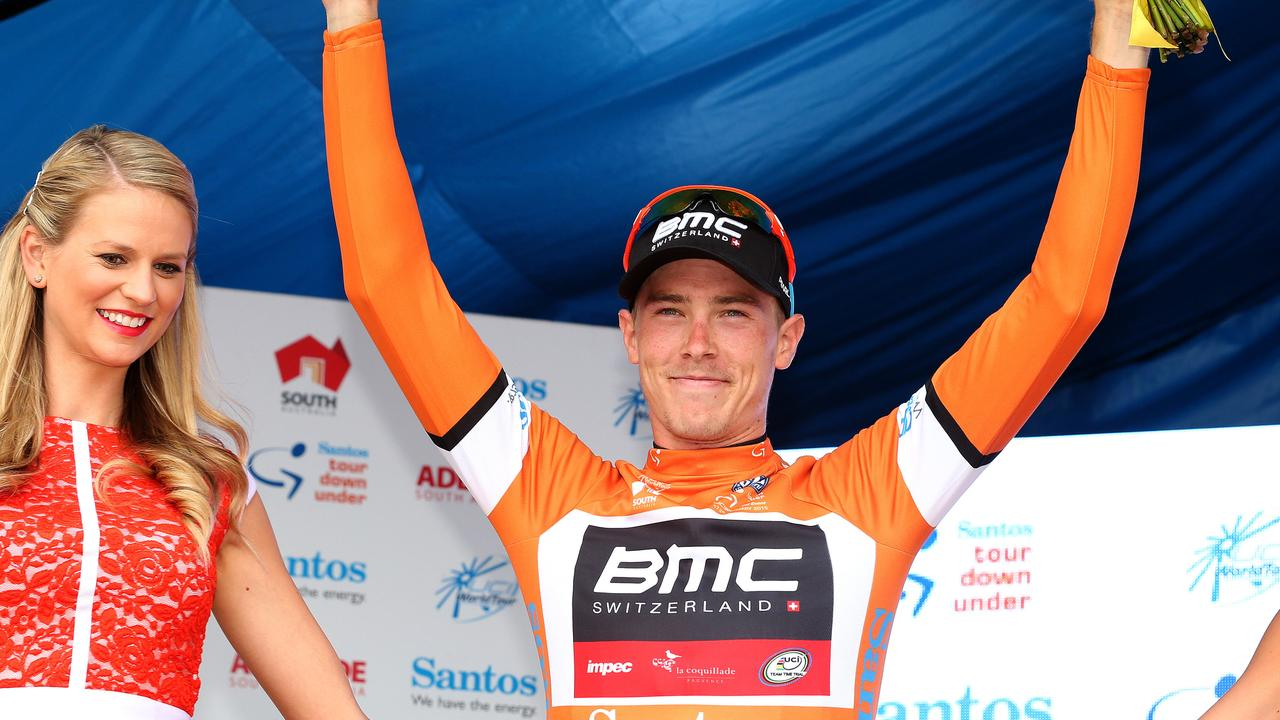 Tour Down Under - Stage 5 - McLaren Vale to Willunga Hill. Rohan Dennis on the podium in Ochre. Photo Sarah Reed