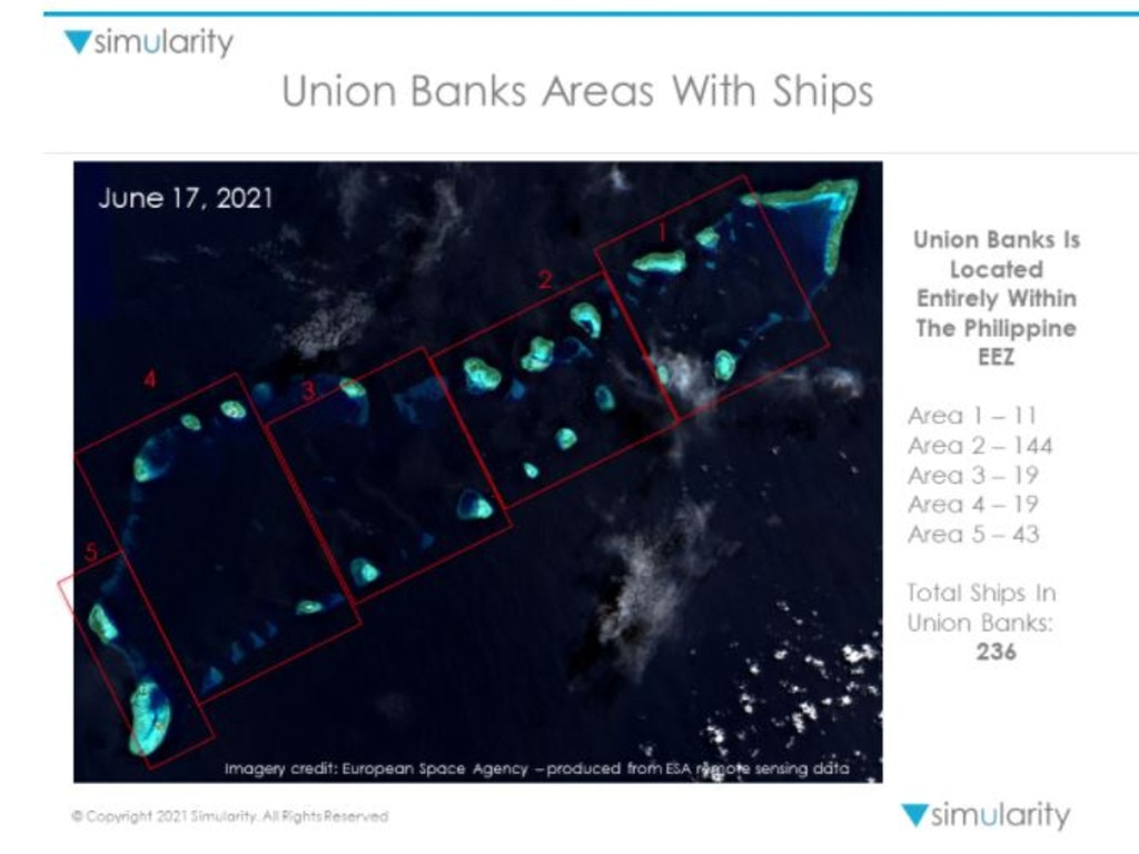 Union Banks area on June 17 2021 shows 236 ships. Picture: Simularity