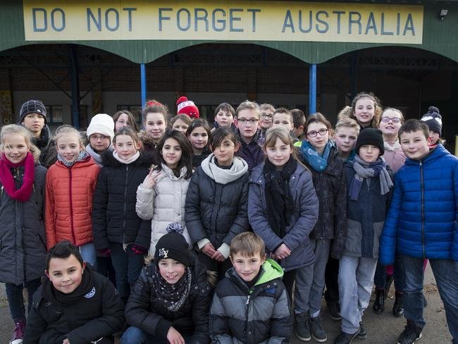 L'Ecole Victoria in the village of Villers-Bretonneux in France. In the courtyard there's a banner saying 'Do Not Forget Australia'. Picture: Ella Pellegrini