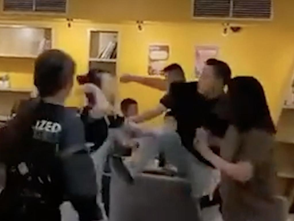 The video also showed the man kicking the woman in the stomach. Picture: Reddit