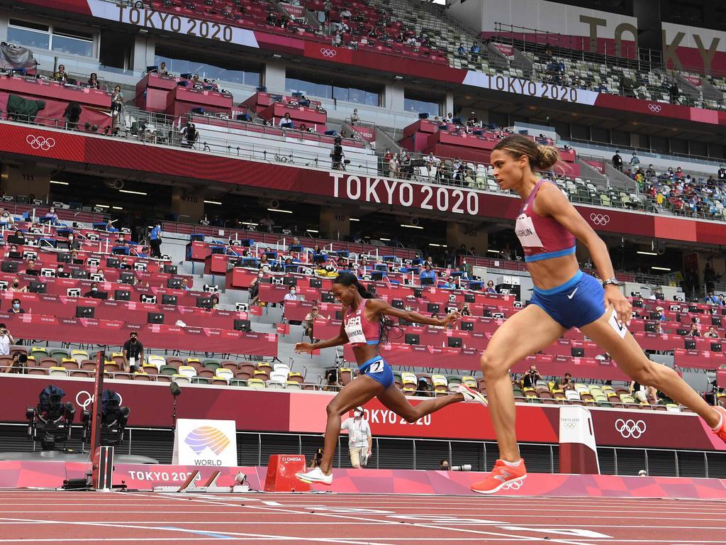 Sydney Mclaughlin beat her teammate Dalilah Muhammad. Picture: Jewel Samad/AFP