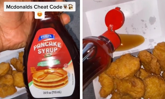 Maple syrup as a dipping sauce for nuggets? We're divided. Source: TikTok.