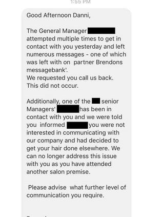 She said the hairstylist tried to blame her for the blunder. Picture: Danni Draper/Facebook