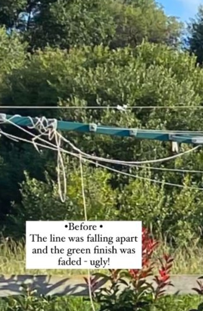 She said the 'ugly' clothes line was falling apart and fading in colour. Picture: Instagram/hamptons_inspired_
