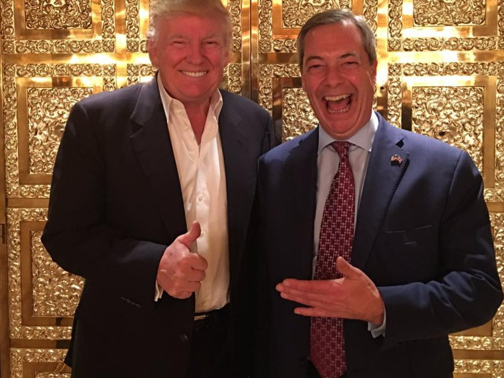 Donald Trump and Nigel Farage. Picture: Supplied