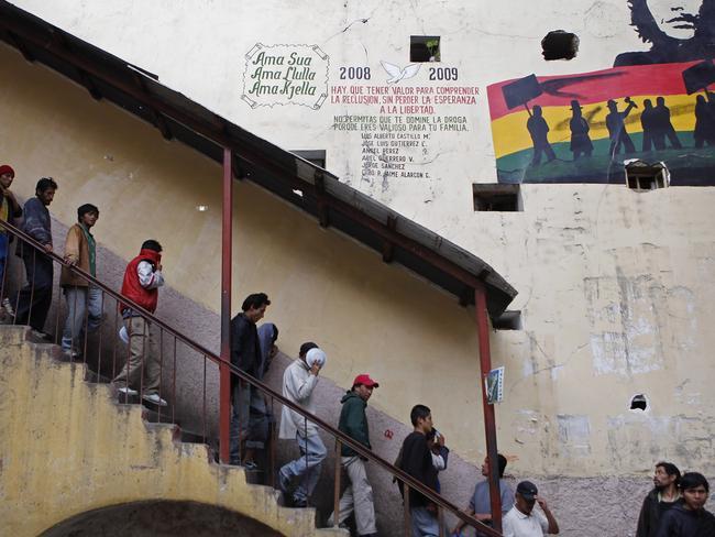 Inmates descend a flight of stairs at San Pedro prison in La Paz, Bolivia, in 2012. Picture: Juan Karita / AP