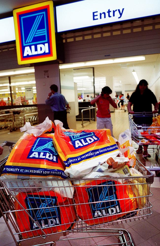 Aldi Australia recommends customers who have 'multiple items' to load them in a trolley at checkout then pack it in a bag, to save time. Picture: Marco Del Grande