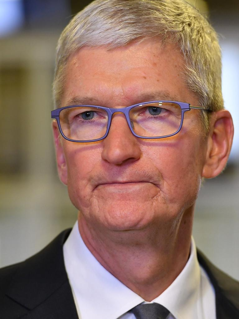 Tim Cook's Apple company sets the rules on the iOS app store, where it also competes with other software developers. Picture: Mandel Ngan/AFP