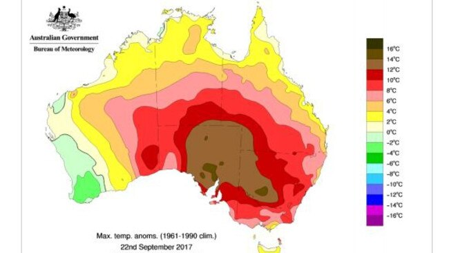 A map of climate anomalies on 22 September 2017. Areas coloured red or brown is at least 8C above the average temperature. Picture: Bureau of Meteorology special climate statement