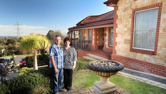 Vendors Franca and Nick Piantadosi in front of their house — 4 Havana Court, Teringie, on the market through LJ Hooker. Picture: AAP Image/Dean Martin