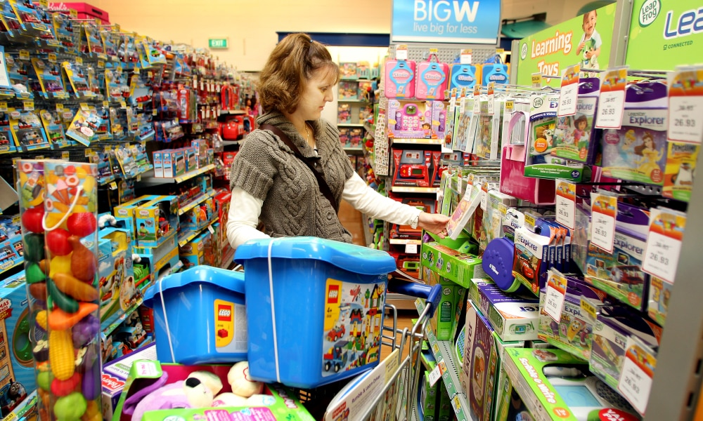 NEWS BCM 30/6/2011 Big W toy sale - Stacey Grant, 35, mother of three and childcare worker, of Alexandra Hills . Pic Jeff Camden