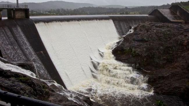 Wappa Dam is spilling over after having reached capacity over the weekend. Picture: QSCHW Australia/Facebook