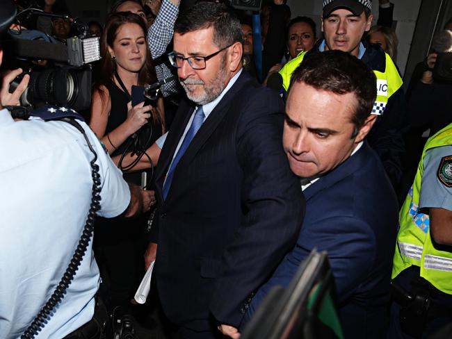 A Current Affair Journalist Ben McCormack leaving Redfern police station after being charged. Picture: Adam Yip