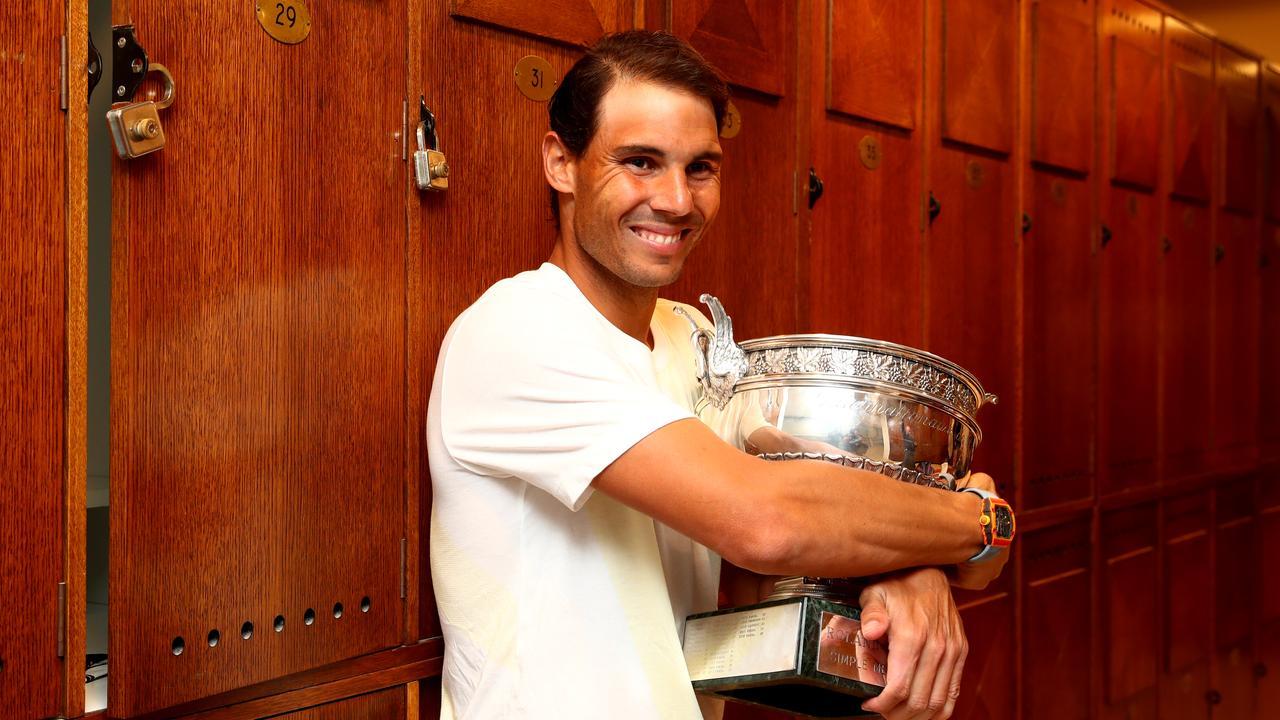 Rafael Nadal celebrates his French Open win in the locker room.