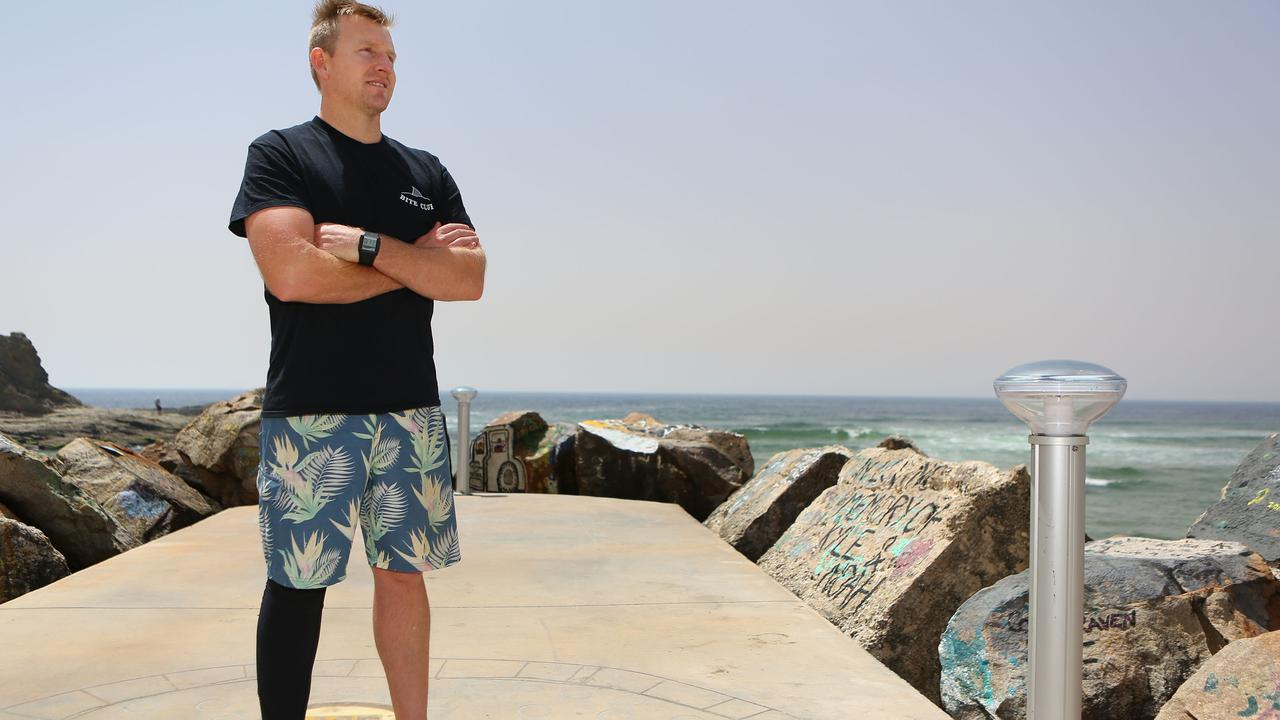 Teacher and father of three Joel Mason was lucky to be alive after being attacked by a shark at Nambucca Heads, NSW last December. Picture: Frank Redward