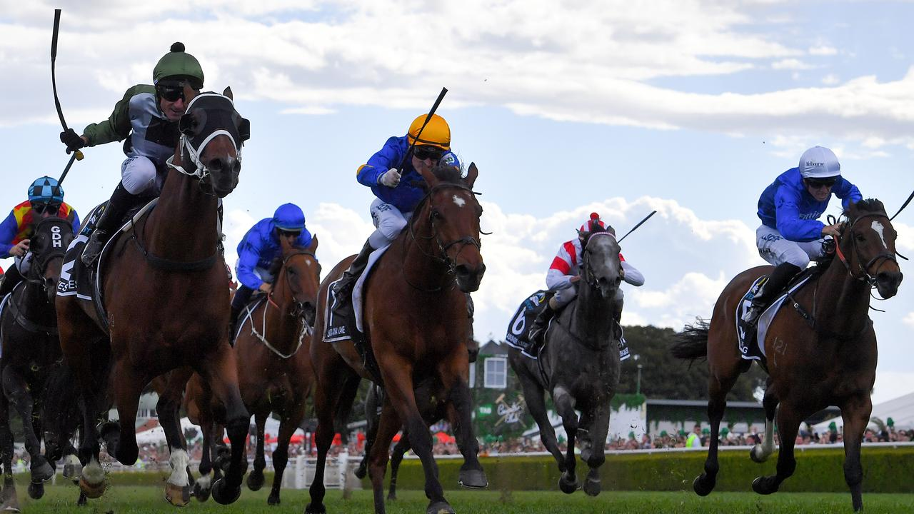 Trekking (right) ran third in last year's The Everest behind winner Yes Yes Yes and Santa Ana Lane. Picture: AAP