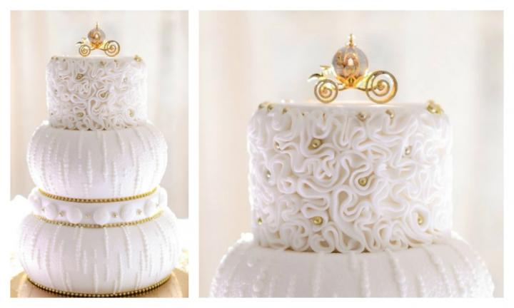 <b>CINDERELLA.</b>  This looks like a traditional wedding cake until you notice Cinderella's carriage delicately perched on top. Tiers with curved sides mimic the curves of the famous pumpkin carriage while the gold detailing adds the perfect royal touch. <p><i>Source: Walt Disney World Resort</i></p>