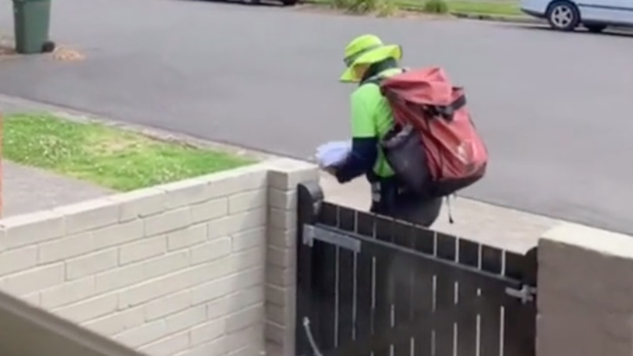 An Australia Post worker has been captured having a wholesome interaction with a pet dog named Rory. Picture: TikTok/_silvo