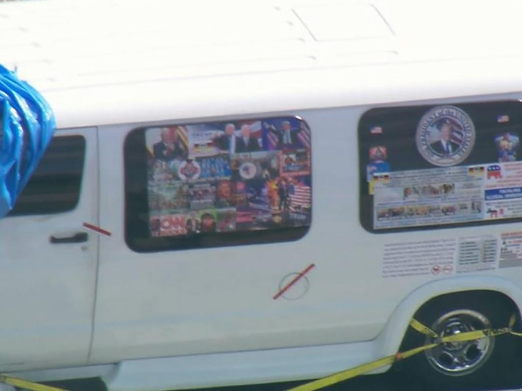 Cesar Sayoc's van had anti-liberal stickers all over. Picture: AFP