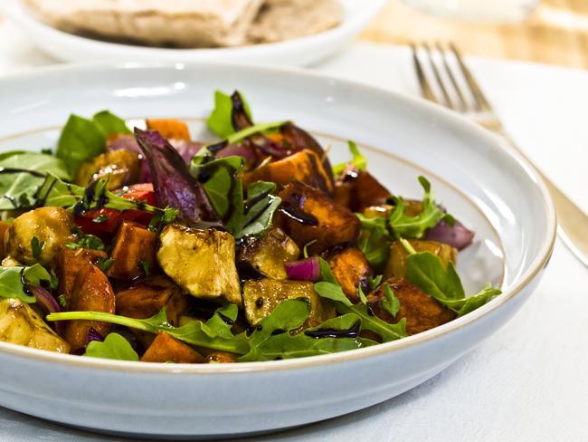 Healthy olive oil roast vegetables with balsamic vinegar salad.