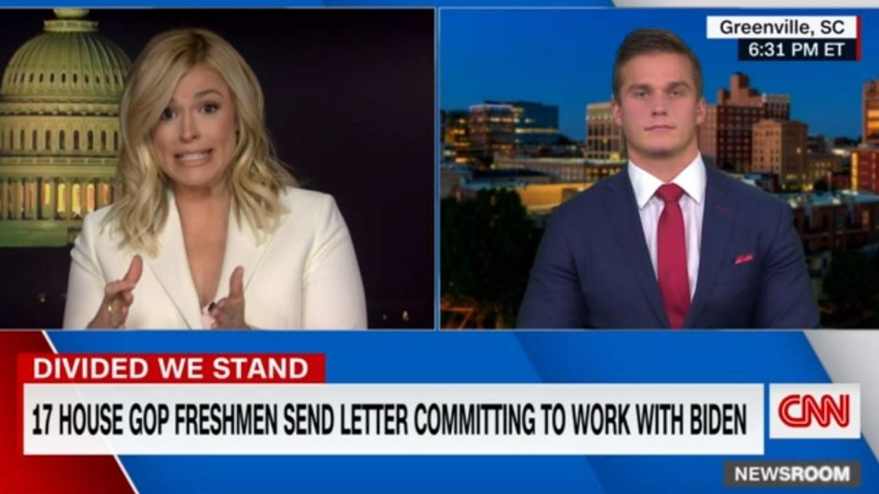 CNN Newsroom anchor Pamela Brown and Republican Congressman Madison Cawthorn. Picture: CNN