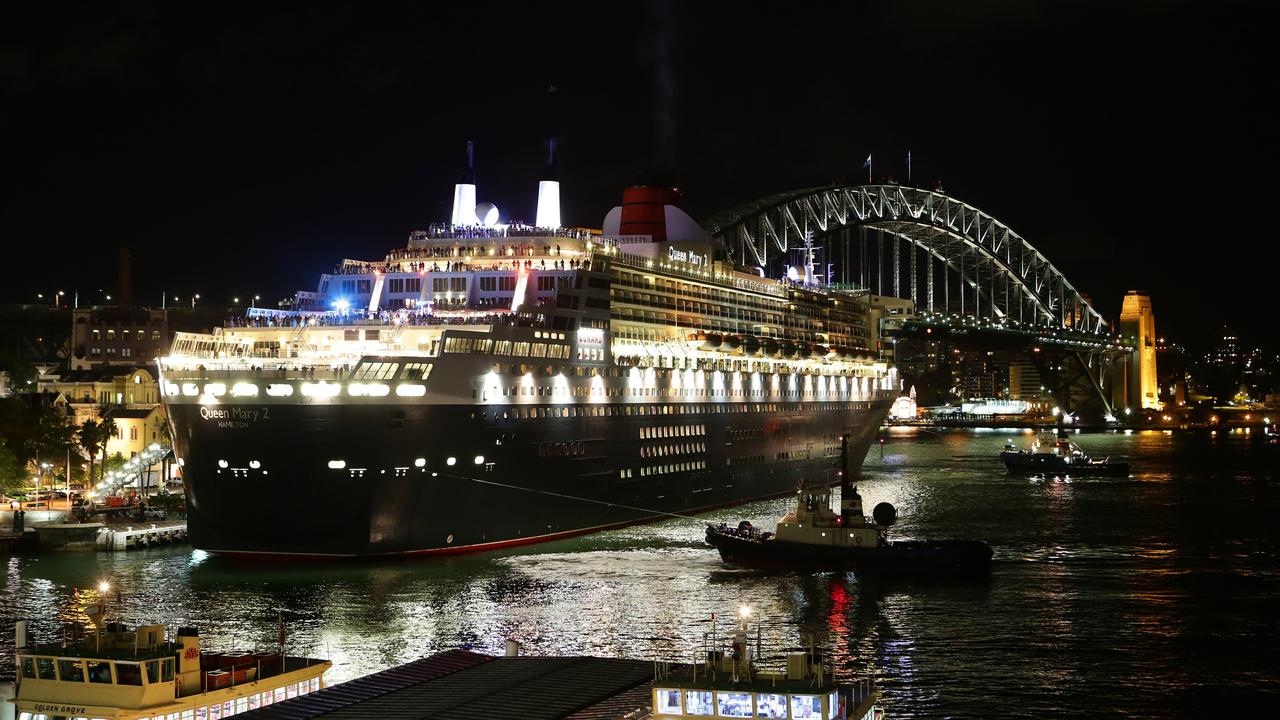 The Queen Mary 2 berthed at Circular Quay. Picture: Bill Hearne