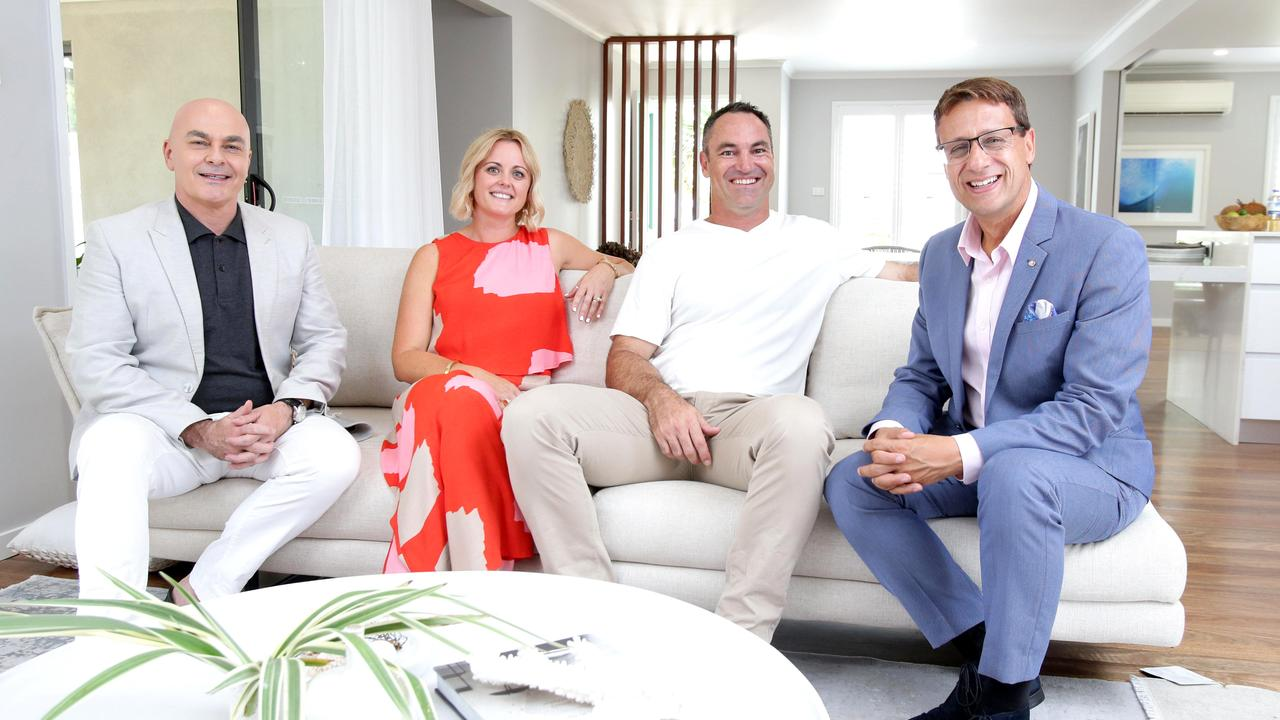 Neale Whitaker, Michelle & Paul Bertinato, Andrew Winter at the reveal of the Bertinato's home (AAP Image/Steve Pohlner).