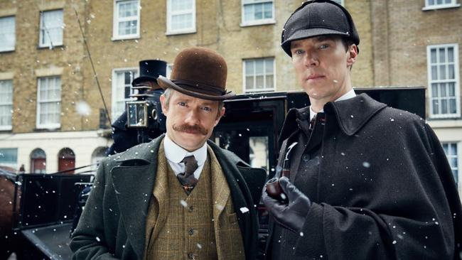 Martin Freeman (as Dr Watson) and Benedict Cumberbatch (as Sherlock Holmes) in BBC special episode Sherlock: The Abominable Bride.