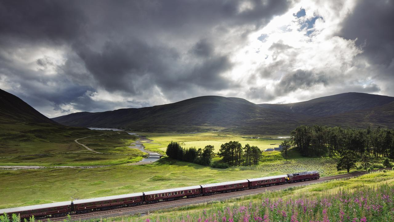 The Royal Scotsman on the line from Perth to Inverness at Dalnaspidal.
