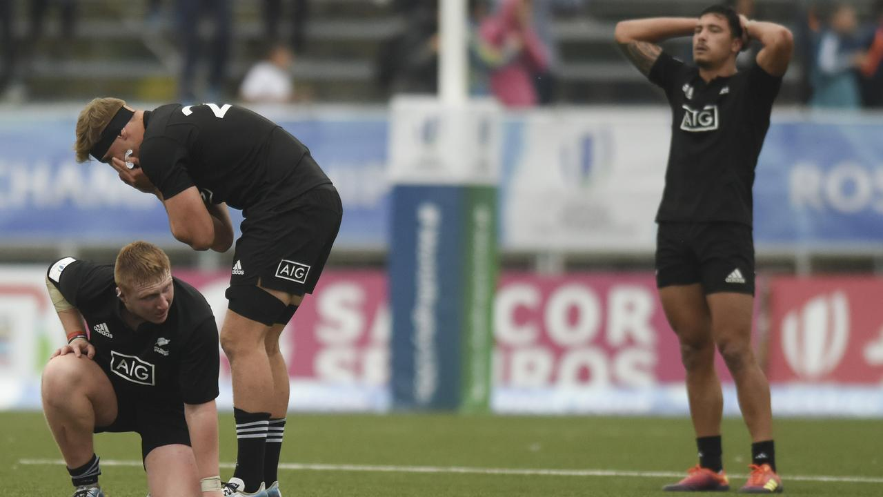 New Zealand react to a loss at the World Rugby U20 Championship.