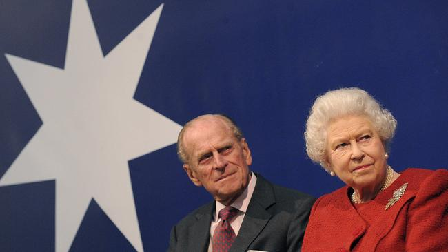 Queen Elizabeth and Prince Philip attend a reception for the Centenary of Australian Diplomatic Representation in London in 2010.
